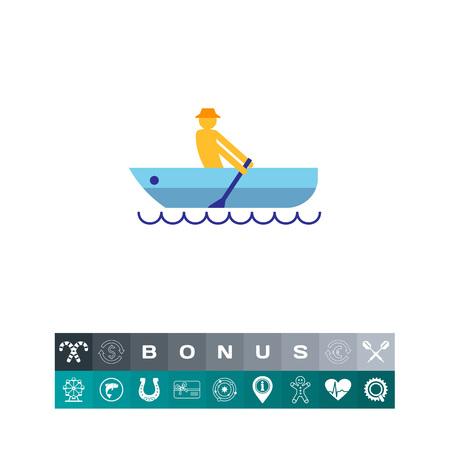 Rowing man illustration.