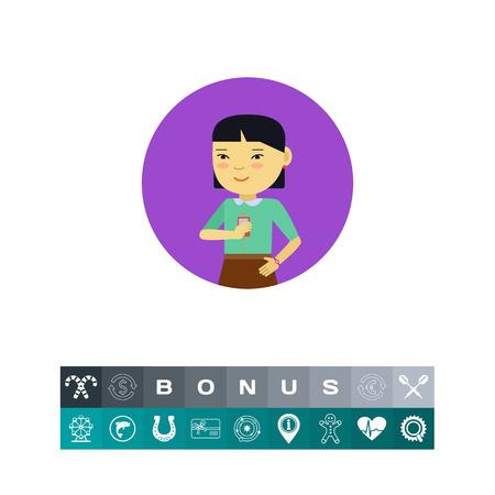 Female character, portrait of smiling Asian schoolgirl holding smartphone