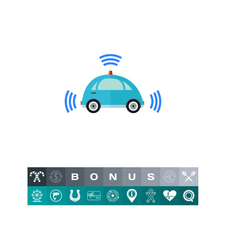Self-driving Car with Signal Signs Icon