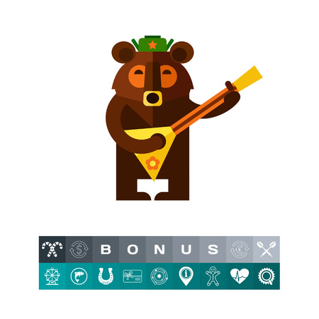 animal head: Multicolored vector icon of Russian bear wearing warm hat and playing balalaika. Illustration