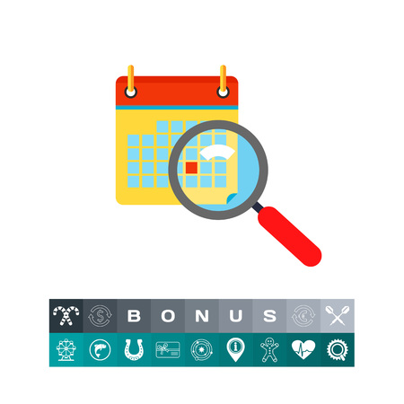 Calendar and magnifying glass in front. Deadline, event, Friday. Calendar concept. Can be used for topics like planning, business, management.