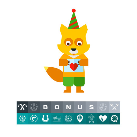 Multicolored vector icon of little fox holding postcard with red heart