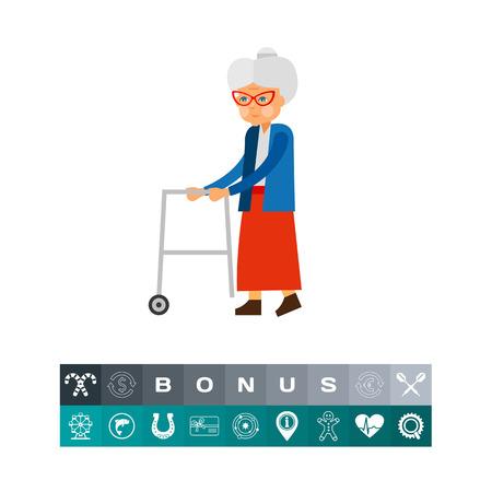 노인 여성 노화 개념 아이콘으로