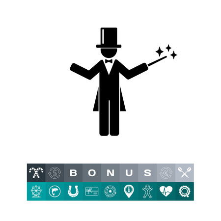 Man wearing tail-coat and cylinder and holding magic wand. Miracle, illusion, surprise. Magician concept. Can be used for topics like show, circus, entertainment. Illustration