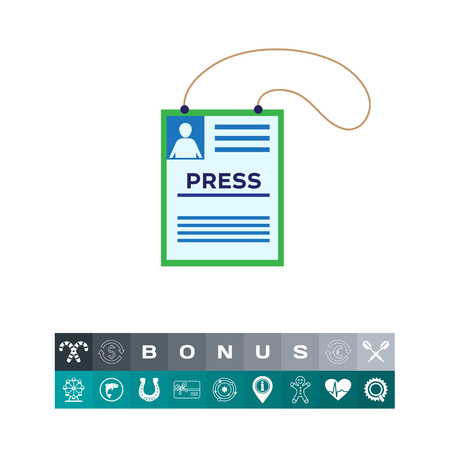 Icon of press accreditation card on string