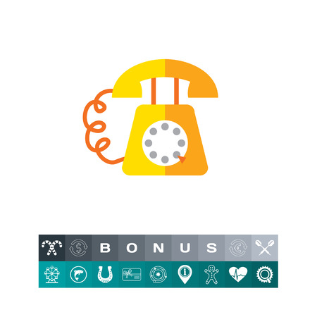 Icon of retro telephone with dialing disk