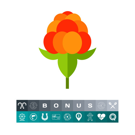 chicouté: Single Cloudberry with Leaves Icon