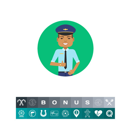 belt up: Smiling pilot portrait Illustration