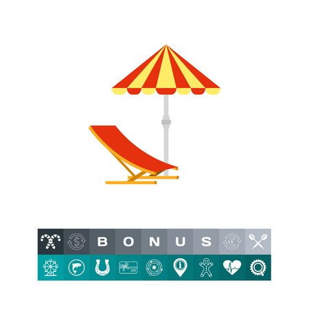 Sun umbrella and deck chair. Sunshade, beach, sea. Sun umbrella concept. Can be used for topics like summer, vacation, tourism.