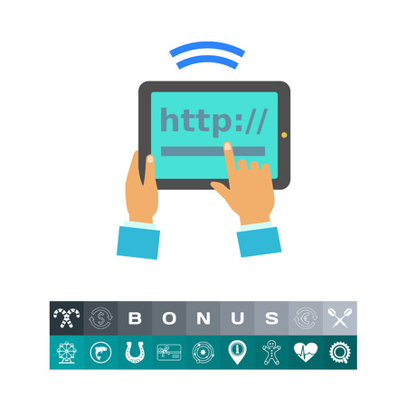 wireless communication: Tablet Internet Connection Icon Illustration