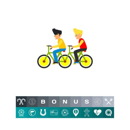 Team of Two Men on Tandem Bicycle Icon