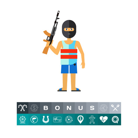 Male character in mask holding machine gun. Threat, killer, terror. Terrorist concept. Can be used for topics like terrorism, violence, criminalty. Ilustrace