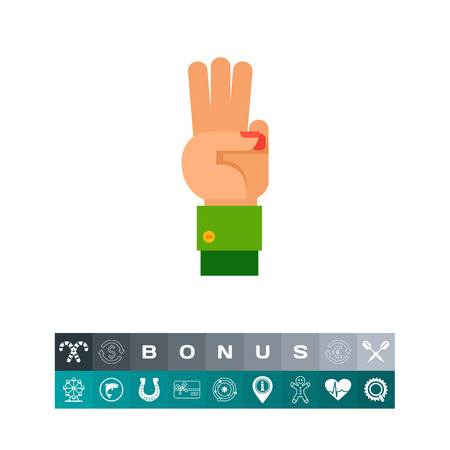 Illustration of left hand with three fingers up. Hand gesture, number, fingers. Hand gesture concept. Can be used for topics like hand gesture, counting, nonverbal communication