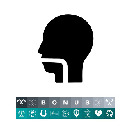 Monochrome vector icon of human head and neck with indicated throat Illustration