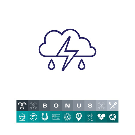 heavy rain: Icon of clouds with falling raindrops and lightning
