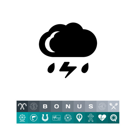 Icon of cloud with falling raindrops and lightning