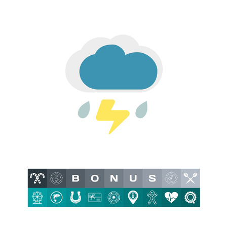Icon of clouds with falling raindrops and lightning