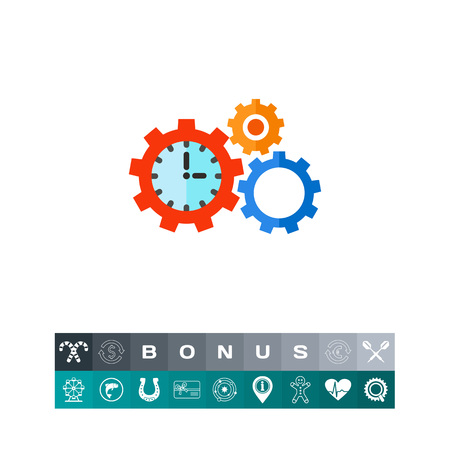 puntualidad: Clock in form of gear and another gear with sun in . Mechanism, efficiency, punctuality. Time management concept. Can be used for topics like business, management, planning, banking. Vectores
