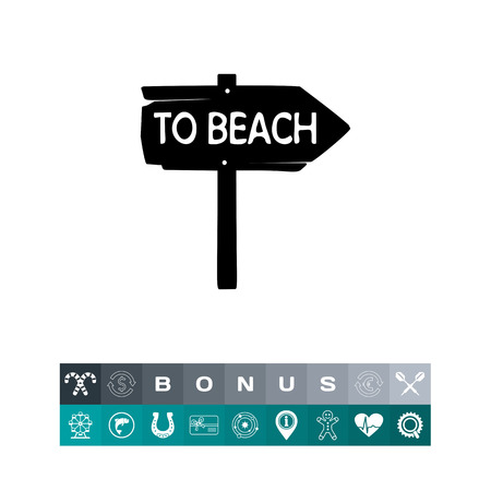 recess: Vintage wooden arrow sign To beach. Summer, sea, direction. Beach concept. Can be used for topics like tourism, vacation, leisure.