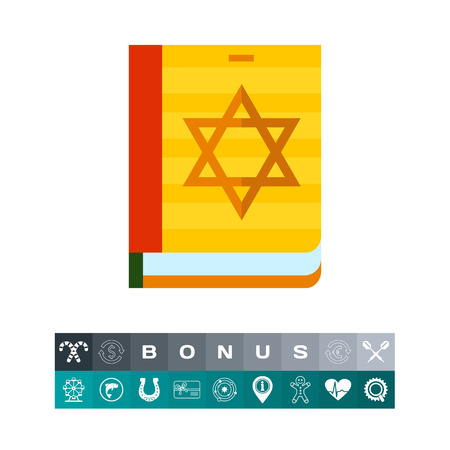 Torah Book Icon isolated on white background, vector illustration.