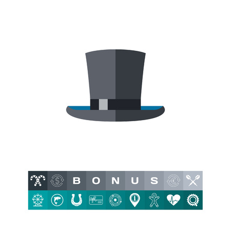 stovepipe hat: Top Hat Icon isolated on white background, vector illustration.