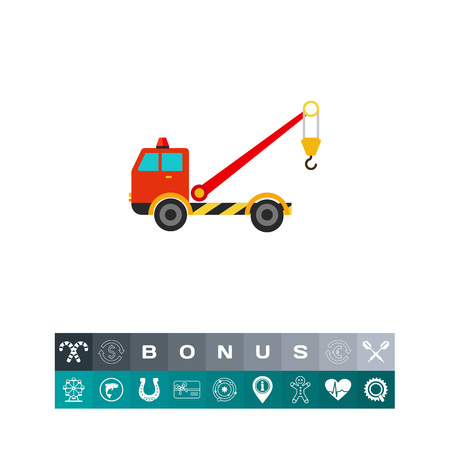 the wrecker: Multicolored vector icon of tow truck with crane Illustration