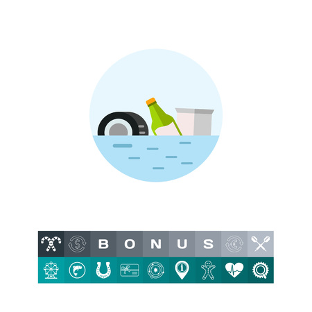 Trash Polluting Waters Vector Icon Illustration