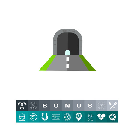 obstruction: Tunnel with Road Vector Icon Illustration