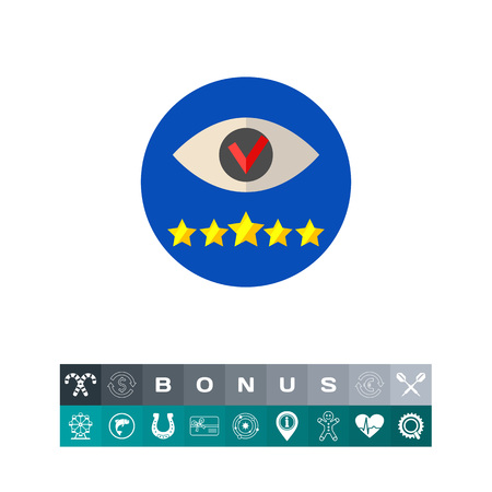 five star: Stylized ticked eye and five stars in circle. Strategy, focusing, goal. Vision concept. Can be used for topics like business, management, consulting, planning. Illustration