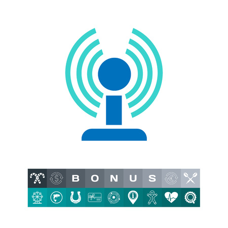 wireless communication: Icon of wifi router in circle