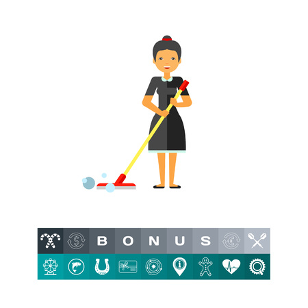 wet floor sign: Smiling woman holding mop. Domestic, wet, bubble. Cleaning concept. Can be used for topics like housekeeping, cleaning, marketing.