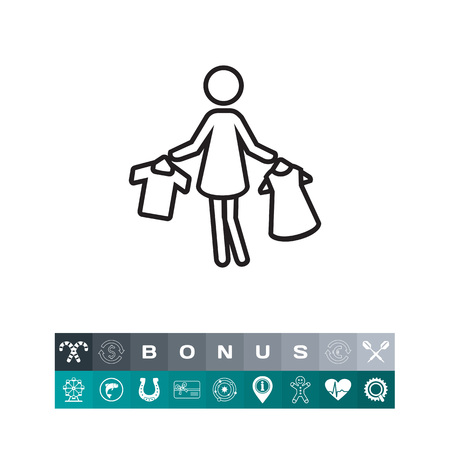 Icon of woman silhouette holding clothes on hangers