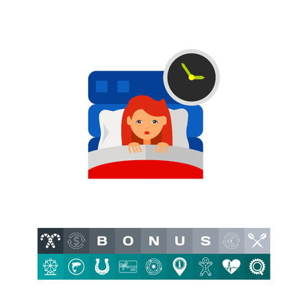 Woman in bed suffering from insomnia. Sllep, clock, night. Insomnia concept. Can be used for topics like insomnia, disease, sleep