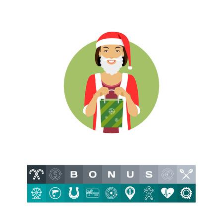 Woman in Santa costume, holding gift bag Illustration