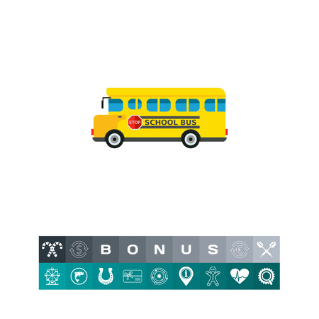 Yellow school bus with stop sign on board. Transportation, learning, knowledge. School bus concept. Can be used for topics like study, teaching, education, school, transport. Illustration