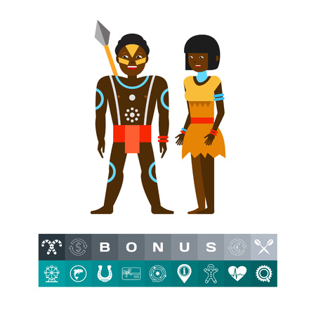Australian aborigine couple icon. Tribes, Australian aborigines, national clothing. Australia concept. Can be used for topics like Australian culture, primitive culture, tourism