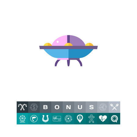 Vector icon of purple flying saucer. Alien civilization, alien visitor, spaceship. Civilization concept. Can be used for topics like astronomy, UFO, mysterious phenomena