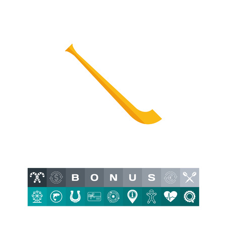 alphorn: Vector icon of alphorn. Musical instrument, Swiss music, hunting horn. Switzerland concept. Can be used for topics like music, Swiss culture, travel Illustration
