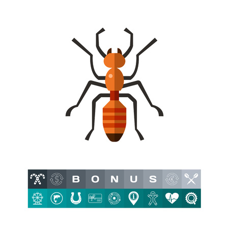 Multicolored vector icon of ant, top view