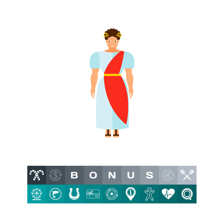 Icon of ancient Roman man in national costume and wreath. Native, ethnic, community, man. Italy concept. Can be used for topics like culture, tradition or civilization