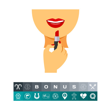 the appearance: Icon of woman applying lipstick. Make-up, cosmetics, allure. Femininity concept. Can be used for topics like beauty, visage, elegance