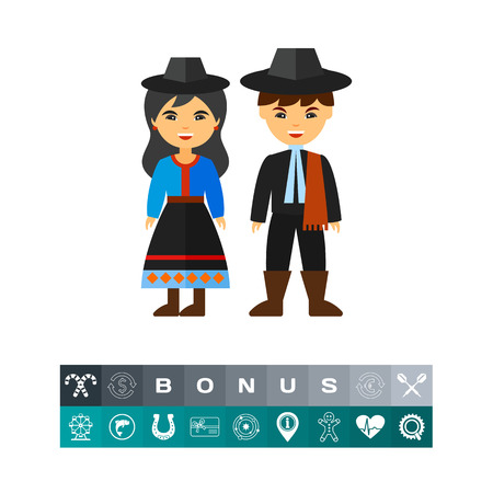 Vector icon of Argentine couple in national costume. National dress, Argentine people, Argentine culture. Argentina concept. Can be used for topics like tourism, travelling, national culture Illustration