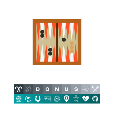 Icon of backgammon game. Strategy, skill, classic game. Board games concept. Can be used for topics like leisure, entertainment or competition