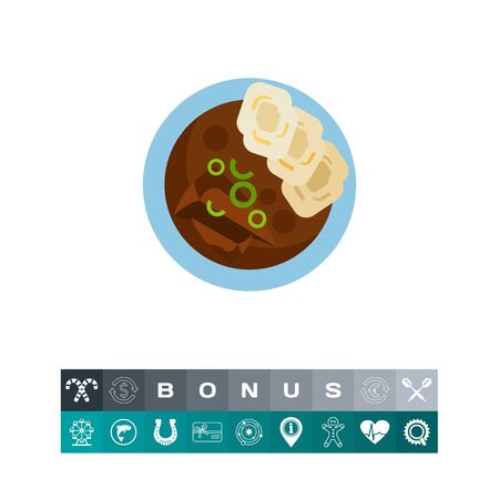 Beef goulash with homemade dumplings icon Illustration