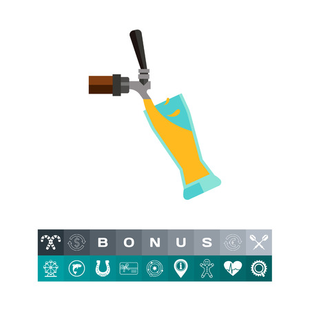 Beer tap with glass icon Vector illustration. Illustration