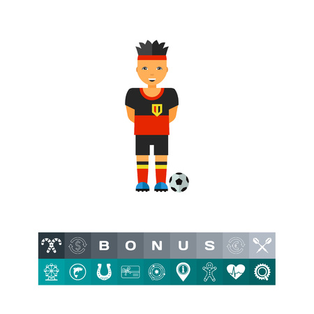 Icon of Belgium soccer player with ball. Football, Belgian uniform, sportsman. Sport game concept. Can be used for topics like association football, style or culture