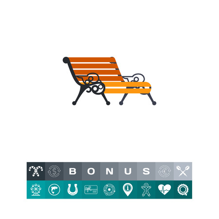 Vector icon of wooden bench with forged decorative armrests. Park, resting, furniture. Iron works concept. Can be used for topics like forging, architecture, artwork