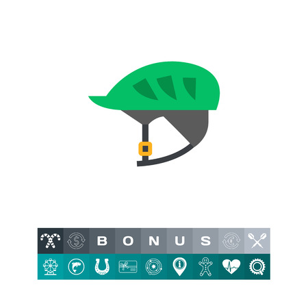 racing sign: Icon of bicycle helmet. Riding, sport, protection. Bicycle concept. Can be used for topics like transportation, safety, racing