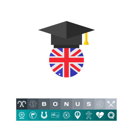 application university: Black  hat icon over a circle with a UK flag design, an international school graduation concept