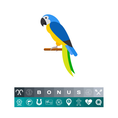 macaw: Vector icon of blue-and-yellow macaw sitting on perch. Parrot, bird, tropical bird. Brazil concept. Can be used for topics like tourism, Brazil fauna, zoo Illustration